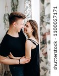 the lovely couple in love... | Shutterstock . vector #1100027171
