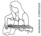 guitarist black line   Shutterstock .eps vector #1100031635