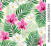 tropical seamless pattern....   Shutterstock .eps vector #1100032544