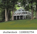beautiful white mansion... | Shutterstock . vector #1100032754