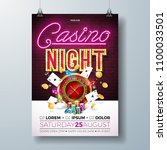 vector casino night flyer... | Shutterstock .eps vector #1100033501