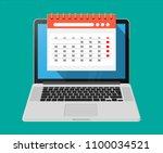 paper spiral wall calendar in... | Shutterstock .eps vector #1100034521