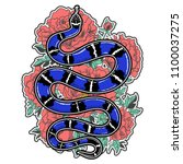 hand drawn vintage snake with... | Shutterstock .eps vector #1100037275