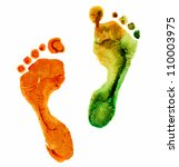 watercolor colorful  footprint  ... | Shutterstock . vector #110003975