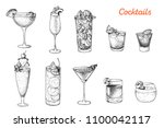 alcoholic cocktails hand drawn... | Shutterstock .eps vector #1100042117