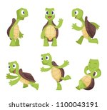 Stock vector funny cartoon characters of turtles in various poses turtle happy animal tortoise cute and 1100043191