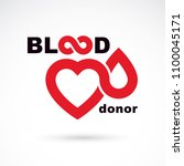 blood donor inscription... | Shutterstock .eps vector #1100045171