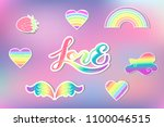 vector set with rainbow  cloud  ... | Shutterstock .eps vector #1100046515
