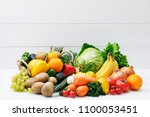 set of different fruits and... | Shutterstock . vector #1100053451