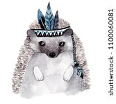 Stock photo watercolor cute hedgehog 1100060081