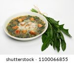 chicory soup in the white plate | Shutterstock . vector #1100066855
