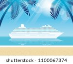 cruise liner and tropical... | Shutterstock .eps vector #1100067374
