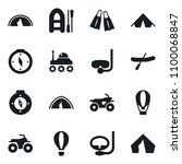 Set of simple vector isolated icons compass vector, diving, atv, rubber boat, tent, space rover, flippers, air balloon