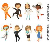 young kids boys and girls of... | Shutterstock .eps vector #1100069651
