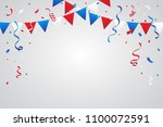 red and blue white confetti and ... | Shutterstock .eps vector #1100072591