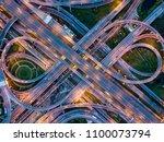 top view of highway road... | Shutterstock . vector #1100073794