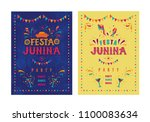 festa junina party design.... | Shutterstock .eps vector #1100083634