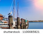 seagull harbor in background | Shutterstock . vector #1100085821