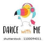toucan bird with headphones... | Shutterstock .eps vector #1100094011