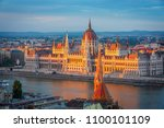 view to parliament on danube... | Shutterstock . vector #1100101109