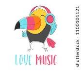 toucan bird with headphones... | Shutterstock .eps vector #1100101121