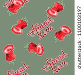 sread love strawberry... | Shutterstock . vector #1100103197
