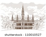 vector drawing of town hall in... | Shutterstock .eps vector #110010527