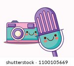 kawaii camera and microphone | Shutterstock .eps vector #1100105669
