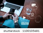 digital marketing media ... | Shutterstock . vector #1100105681
