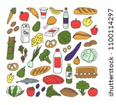 sketches from groceries... | Shutterstock .eps vector #1100114297