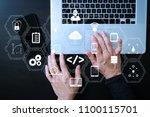 coding software developer work... | Shutterstock . vector #1100115701