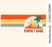 Sunset Babe Slogan With Stripe...