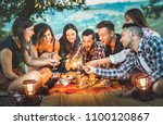 happy friends having fun with... | Shutterstock . vector #1100120867