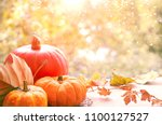 Autumn Background With Pumpkin...