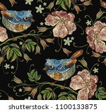 beautiful birds and flowers of... | Shutterstock .eps vector #1100133875