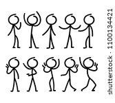 cartoon doodle stick figure...   Shutterstock .eps vector #1100134421