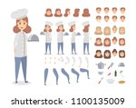 female chef character set.... | Shutterstock .eps vector #1100135009
