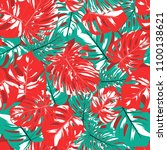 seamless tropical pattern with... | Shutterstock .eps vector #1100138621
