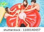 top view of happy friends... | Shutterstock . vector #1100140457
