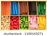 Small photo of Wood Montessori material for math Cuisenaire rods