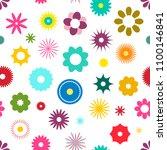 seamless flowers pattern vector ... | Shutterstock .eps vector #1100146841