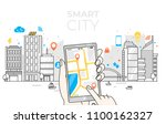 smart city in line art with... | Shutterstock .eps vector #1100162327