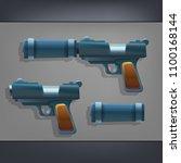 cartoon handgun of a firearm....   Shutterstock .eps vector #1100168144