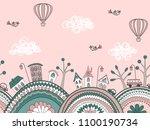 cute doodle seamless pattern.... | Shutterstock .eps vector #1100190734