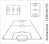 sketch of soccer fields set.... | Shutterstock .eps vector #1100196725