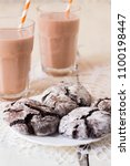 chocolate crinkles cookies and... | Shutterstock . vector #1100198447