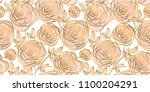 Stock vector abstract rose strocke style header pattern gold and pale rosy floral rapport for background 1100204291