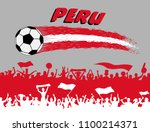 peru flag colors with soccer... | Shutterstock .eps vector #1100214371
