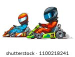 kart racing cartoon illustration | Shutterstock .eps vector #1100218241