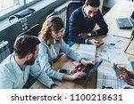 top view of team of creative... | Shutterstock . vector #1100218631